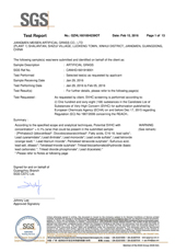 SGS欧盟检测报告英文版