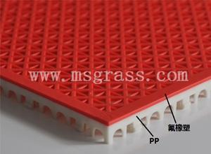 米字氟橡塑地板-白底红面