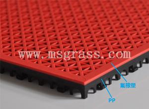 米字氟橡塑地板-黑底红面