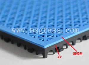 米字氟橡塑地板-黑底蓝面